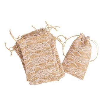 Favor Bags - Burlap & Lace Drawstring