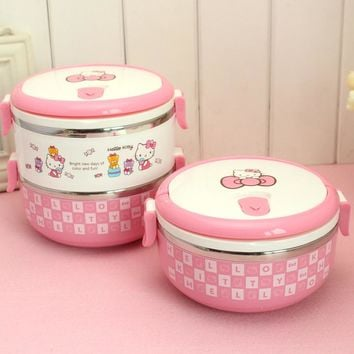 Cartoon Hello Kitty Stainless Steel Lunch Box For Kids Thermal Bento For School Students In Tableware 2D
