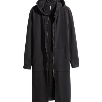 H&M - Long Hooded Jacket - Black - Men