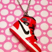Nike Air Jordan Dunk Sneaker Shoe Necklace - Red & White