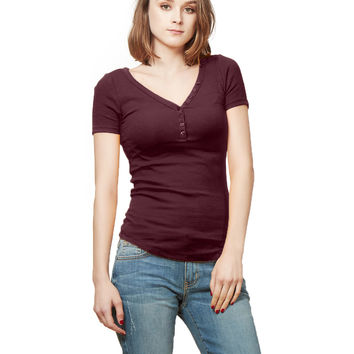 LE3NO Womens Fitted Fine Ribbed Knit Short Sleeve Henley Shirt