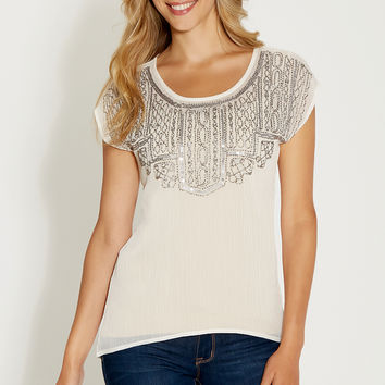 blouse with embellished chiffon front