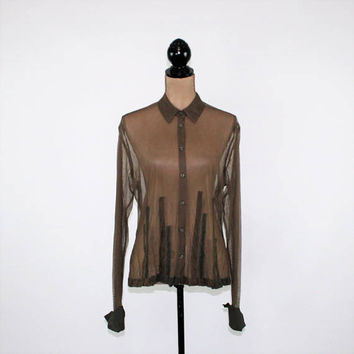 See Through Blouse Sheer Top Brown Shirt Long Sleeve Button Up Edgy Womens Blouse Medium J Jill Womens Clothing