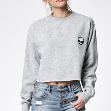 John Galt Alien Cropped Crew Neck Sweatshirt at PacSun.com