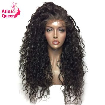 Atina Queen Hair Products Of Waterless Glue Full Lace Wigs With Natural Baby Black Hair 100 Human Hair Tie Wig For Remy Women
