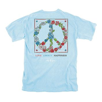 Love, Liberty, Happiness Tee in Chambray by Lily Grace