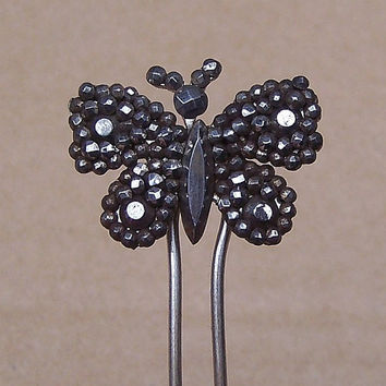 Cut Steel Hair Comb Vintage Victorian Figural Butterfly Hair Accessory