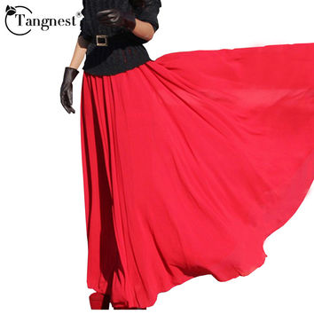 4 Colors Women Casual Maxi Skirt New 2016 Fashion Chiffon Long Skirts Saias Femininas WQC101