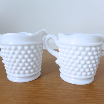 Westmoreland American Hobnail milk glass sugar and creamer set in excellent condition
