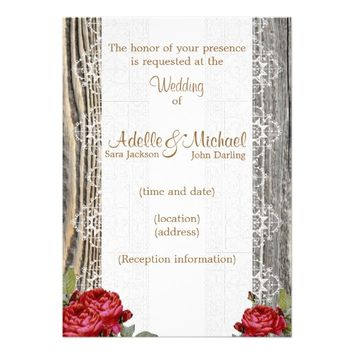 Weathered Wood Lace Red Roses Wedding Invitation
