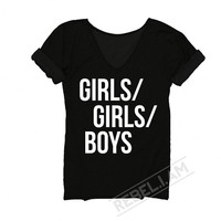 GIRLS/GIRLS/BOYS Longer tee with v neck and sleeve tabs, unique