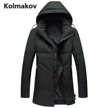 KOLMAKOV 2017 new winter high quality men's fashion hooded collar down jacket parkas,80% white duck down coats men.size L-4XL