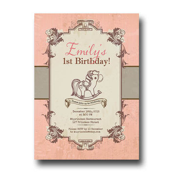 Vintage Rocking Horse Birthday Invitation for any age,  1 30 40 50 60 70 80 birthday invitation Pony Card Design party invite - card 141