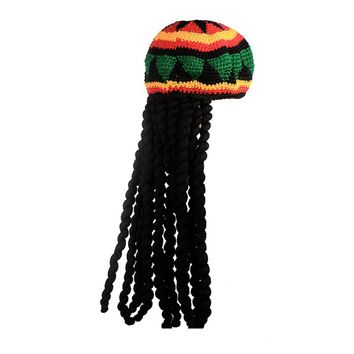 Okdeals Women Fashion Novelty Knitted Wig Braid Hat Unisex Jamaican Bob Marley Rasta Hair Hat Multicolor Tassel Headwear Hat