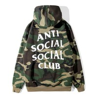 Anti Social Social Club Fashion Print Camouflage Hoodie Top Sweater