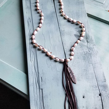 "30"" Freshwater Pearl Crochet Necklace with Tassel 052s"