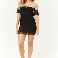 Lace-Up Mesh Mini Dress