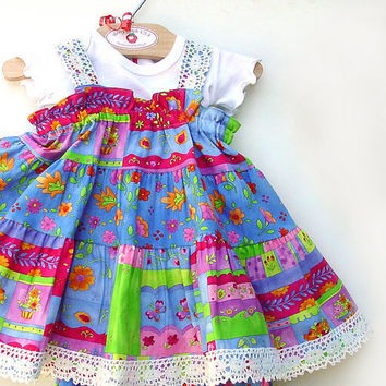 Girls Handmade Blue Twirly Dress  Toddler dress by BerryPatchUSA