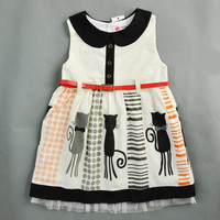 Children's Dresses 2015 Girls Summer Cute Cat Printing Vest Dress.