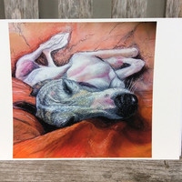 Whippet art, Whippet print, Greyhound art, Sighthound drawing, Whippet lover, Whippet pastel print, Whippet sketch print, Dog lover,