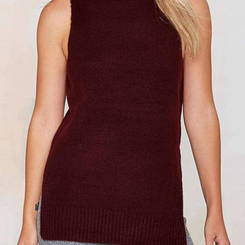 Sleeveless Knitted With Side Split Top