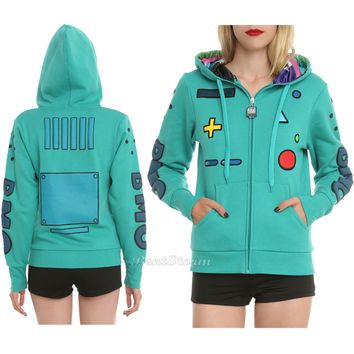 Licensed cool NEW ADVENTURE TIME Green BEEMO BMO Remote Control Cosplay Zip UP Hoodie Hoody