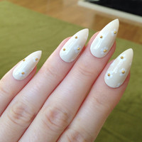 Daisy False Nails, Summer Fake Nails, Summer Nails, Fake nails, Nail art, Nails, Acrylic nails, Nail designs