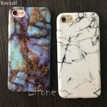 Kerzzil Soft TPU Case For iPhone 6 6S 7 6s 7 Plus 5 SE 5s Glossy Granite Marble Geometry Painted Phone Cover Back For iPhone 7