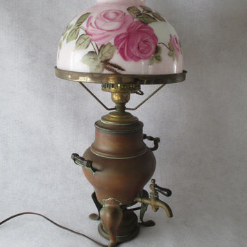 Lamp, Victorian Copper Coffee Percolator, Manning Bowman & Co, 1906, Hand Painted Glass Shade, Antique, Vintage, Unique Upcycled Lamp
