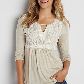 tee with lace overlay and peek-a-boo neckline | maurices