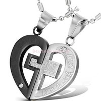 "His & Hers Couple Stainless Steel Cross Heart Pendant ""LOVE YOU REALLY"" Necklace"