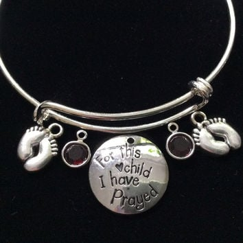 For This Child I Have Prayed Twins Baby Feet Birthstone Expandable Charm Bracelet Adjustable Bangle Gift Meaningful