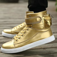 New 2016 Unisex High Top Casual Shoes Men and Women Zip Solid PU Leather Men Fashion Shoes Zapatos mujer Basket femme Trainers