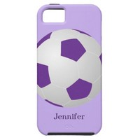 iPhone SE, 5/5s Soccer, Purple Personalized iPhone SE/5/5s Case