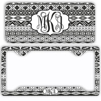 Black White Aztec Tribal License Plate Car Tag Cover Monogram Frame Personalized Set Custom Initials Tribal Pattern Print