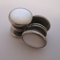 Vintage Cufflinks Snap Cuff Links Art Deco Jewelry Men's Jewelry Gifts for Him Mother of Pearl