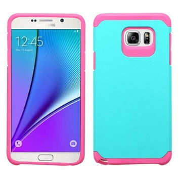 Galaxy Note 5 Case, Slim Hybrid Dual Layer [Shock Resistant] Case Cover for Samsung Galaxy Note 5 - Teal/Hot Pink