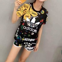 """Adidas"" Women Casual Multicolor Sunflower Letter Pattern Print Short Sleeve Shorts Set Two-Piece Sportswear"