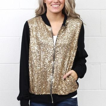 Sparkle + Shine Sequin Bomber Style Jacket {Gold+Black}
