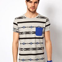 ASOS Stripe T-Shirt With Aztec Pattern And Contrast Pocket