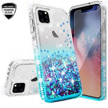 Apple iPhone 11 Case Liquid Glitter Phone Case Waterfall Floating Quicksand Bling Sparkle Cute Protective Girls Women Cover for iPhone 11 W/Temper Glass - Teal