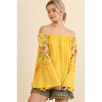 Umgee Off Shoulder Top w/ Embroidered Bell Sleeves