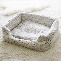 Faux-Fur Pet Bed, Grey Leopard