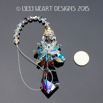 "m/w Swarovski Crystal Big Angel Aurora Borealis 2"" 50mm Retired Logo Etched Triangle Prism SunCatcher Car Charm Lilli Heart Designs"