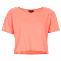 Roll Pocket Crop Tee - Coral