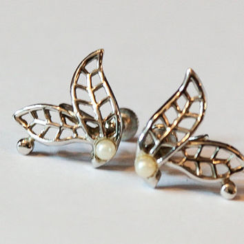 Pair Leaf and Pearl Screw Back Earrings