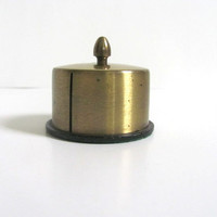 Vintage Round Brass Stamp Dispenser / Stamp Holder