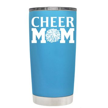 Cheer Mom Pom Pom on Baby Blue 20 oz Tumbler Cup