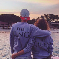 2016 Autumn Winter Couples Match Sweatshirts KING QUEEN Casual Long Sleeve Hoodies Lovers Sweatshirt Men&Women Pullovers S-XXXL