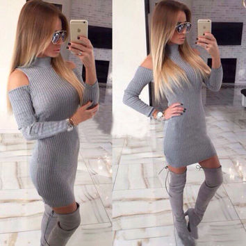 Grey Turtleneck Shoulder Cutout  Long Sleeves Bodycon Mini Dress